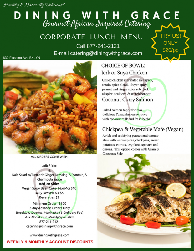 Gourmet african inspired corporate lunch delivery dining for Afro caribbean cuisine